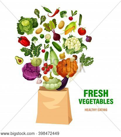 Fresh Vegetables And Shopping Bag, Healthy Eating, Vector Veggies And Greenery. Corn, Tomato, And Sq