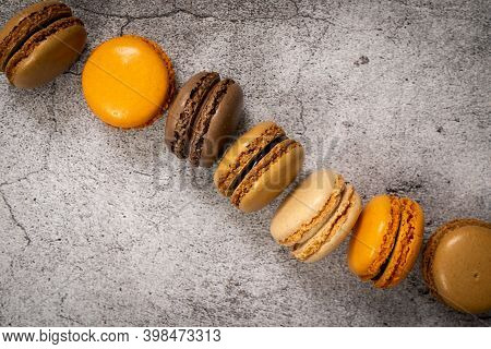 Traditional French Colorful Macarons In A Rows