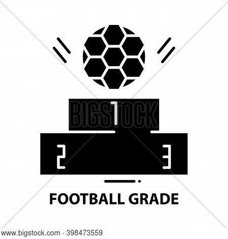 Football Grade Icon, Black Vector Sign With Editable Strokes, Concept Illustration