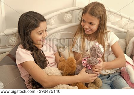 Lets Play. Little Children Play Toys In Bedroom. Enjoying Happy Childhood. Childhood Happiness. Chil