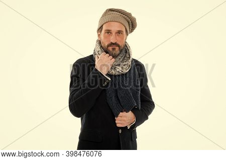 Mature Man Feeling Cold In Winter. Chill Outside. Winter Weather Forecast. Man Wear Warm Clothes. Be