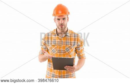 We Like To Build. Constructing Engineer Isolated On White. Build Laborer Or Builder On Site. Design