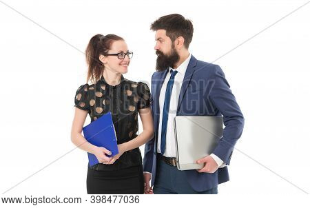 Communicate To Achieve Goals. Colleagues Isolated On White. Communication For Building Trustworthy R