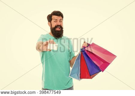 Easier Than Ever. Contactless Payment. Credit Card. Bearded Man With Bags And Discount Card. Purchas