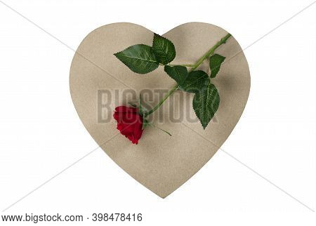 A Large Cardboard Heart Giftbox With Red Rose On Top For Happy Valentines Day Isolated On A White Ba