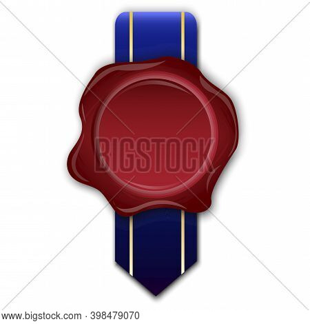 Royal Sealing Wax For Paper Design. Sealing Wax In Royal Style. Document Icon Vector. Stock Image.