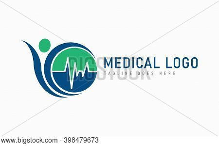 Modern Medical Line In The Circle Combine With Abstract People Shape. Modern Logo Design Usable For
