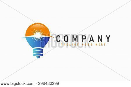 Abstract Bulb Logo Design. Modern Orange And Blue Bulb Logo Design Usable For Modern Shield Logo Des