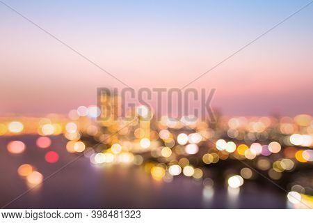 Blurred City At Riverside Sunset Background. Bangkok, Thailand, Asia