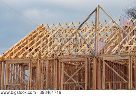 Frames Of Plywood House Rafters Wood Work Plank