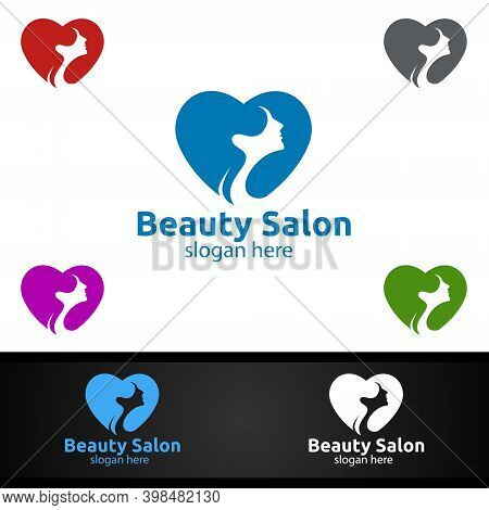 Love Salon Fashion Logo For Beauty Hairstylist, Cosmetics, Or Boutique Design