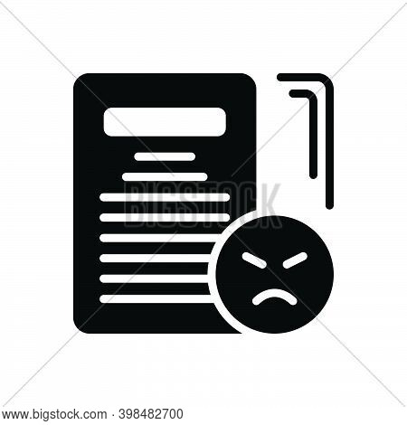 Black Solid Icon For Complaint Grievance Jeremiad Accusation Checklist Document Feedbacks