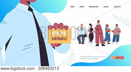 Hr Manager Holding We Are Hiring Poster Vacancy Open Recruitment Concept Mix Race Candidates Standin