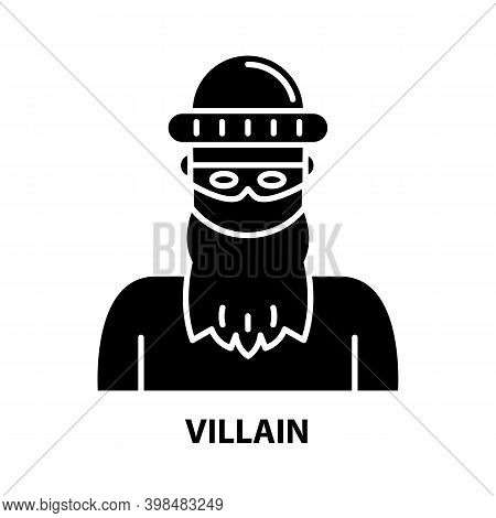 Villain Icon, Black Vector Sign With Editable Strokes, Concept Illustration