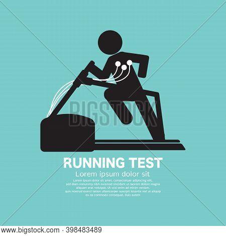 Black Icon Symbol Cardiac Stress Test Vector Illustration. Eps 10