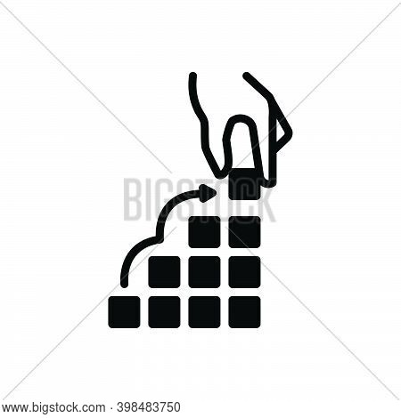Black Solid Icon For Fundamental Basic Foundation Build-up Formation Growth Increase Rise Constructi