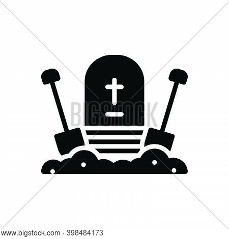 Black Solid Icon For Bury Entomb Cemetery Christianity Gravestone Halloween Corpse Dig Shovel Gravey