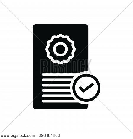 Black Solid Icon For Possess Acquire Documents Certificate Qualification Ownership Recognition Verif