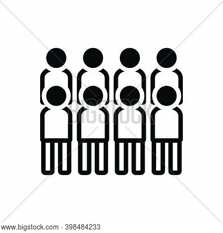 Black Solid Icon For Rush Crowd Mob Multitude Horde Sequence Group People