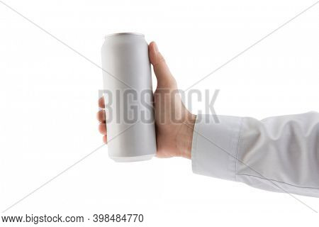 Man holding white blank aluminum can with beverage isolated on white background with clipping path