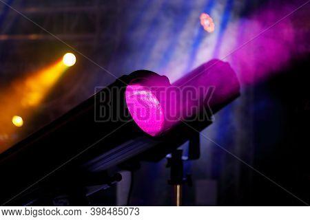 Led Stage Profile Spotlight Fixtures And Smoke. Ellipsoidal Reflector Spotlight.