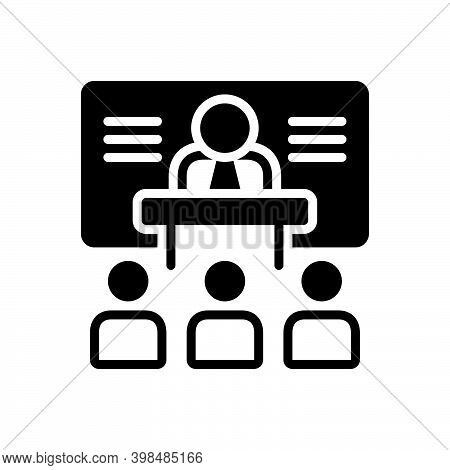 Black Solid Icon For Training Instruction Teaching Coaching Tuition Tutoring People