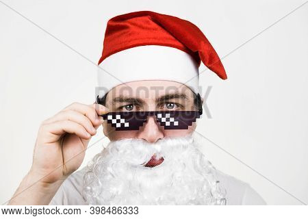 Swag Santa Claus In Funny Pixelated Sunglasses On White Background. Gangster, Boss, Thug Life Meme.