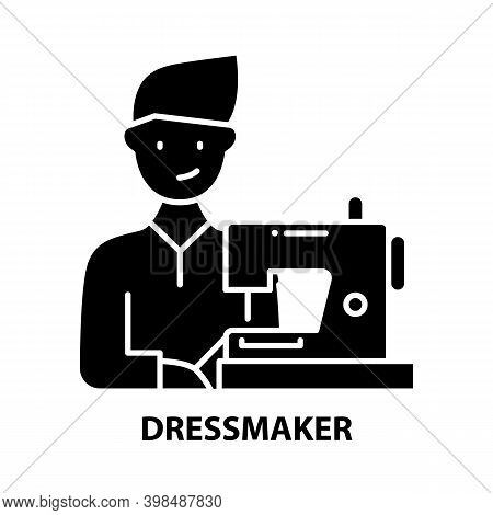 Dressmaker Icon, Black Vector Sign With Editable Strokes, Concept Illustration