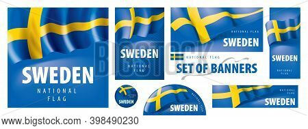 Vector Set Of Banners With The National Flag Of The Sweden