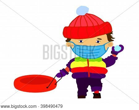 Winter Tube And Children. Funny Happy Boy In Medical Mask Throwing A Snowball. Flat Illustration Iso