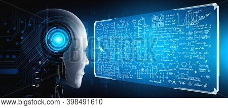 Humanoid Ai Robot Looking At Hologram Screen In Concept Of Math Calculation And Scientific Equation