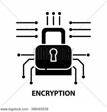 Encryption Icon, Black Vector Sign With Editable Strokes, Concept Illustration