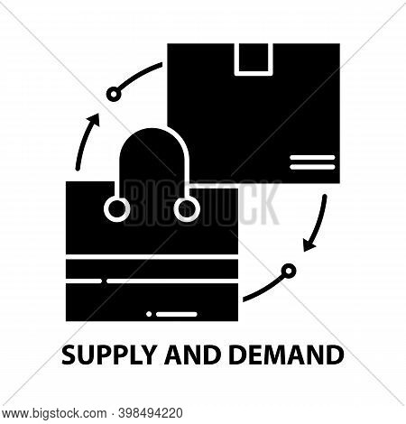 Supply And Demand Icon, Black Vector Sign With Editable Strokes, Concept Illustration