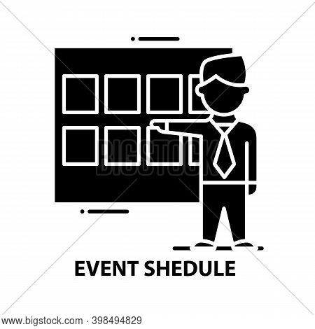 Event Shedule Icon, Black Vector Sign With Editable Strokes, Concept Illustration