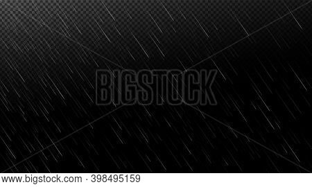 Rain, Falling Water Drops On Transparent And Black Background. Shower Droplets, Storm Or Downpour Ab
