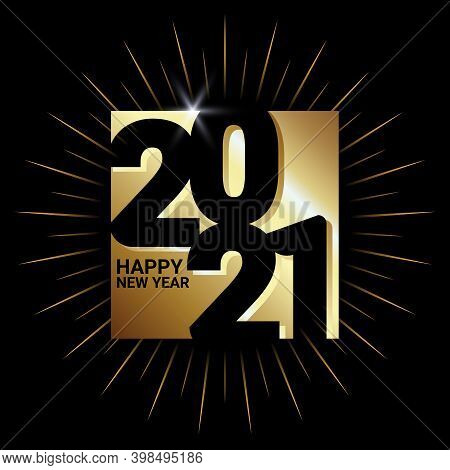 New Year 2021. Happy New Year 2021 Vector. Number 2021 In A Square Shape. 2021 Text. Number 2021 Wit