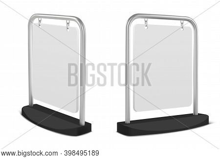 Pavement Sign, White Sidewalk Advertising Board Hanging On Metal Frame. Vector Realistic Mockup Of B