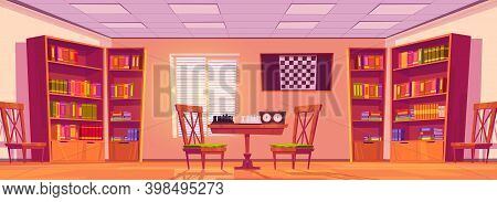 Chess Club Interior With Board, Pieces And Clock On Table, Chairs, Bookcases With Books And Checkerb