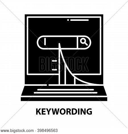 Keywording Symbol Icon, Black Vector Sign With Editable Strokes, Concept Illustration