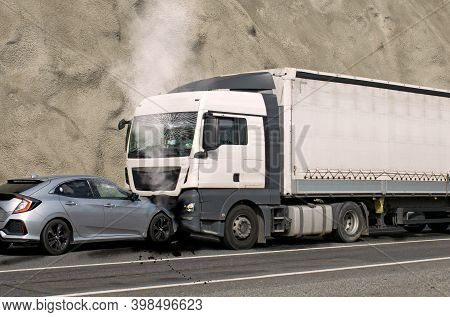Frontal Collision - Accident - Between A Truck And A Car