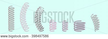 Set Of Coil Spring Cartoon Design Template With Various Models. Modern Vector Illustration Isolated