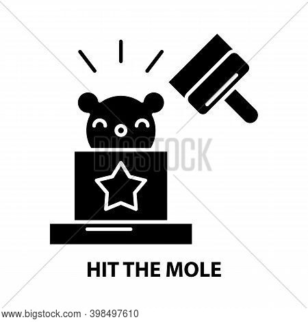 Hit The Mole Icon, Black Vector Sign With Editable Strokes, Concept Illustration
