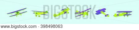 Set Of Biplane Cartoon Design Template With Various Models. Modern Vector Illustration Isolated On B