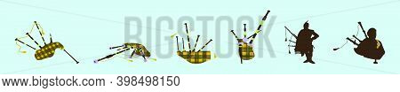Set Of Bagpipes Cartoon Design Template With Various Models. Modern Vector Illustration Isolated On