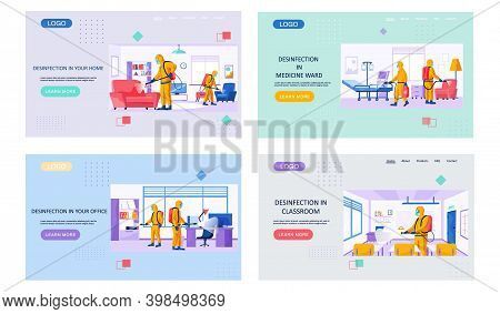 Disinfection In Your Home Landing Page Template With A Description Of The Sanitary Service. Man In A