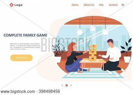 Complete Family Game Landing Page Template With Happy Family Or Friends Playing Jenga Game At Home O