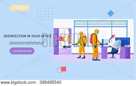 Disinfection In Your Office Landing Page Template With A Description Of The Sanitary Service. Men In