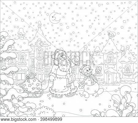 Santa And Snowman Carrying A Magic Bag Of Winter Holiday Gifts On A Toy Sledge Down A Snowy Street W