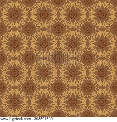 Seamless Flower Motifs On Typical Indonesian Batik With Smooth Brown Color Design.