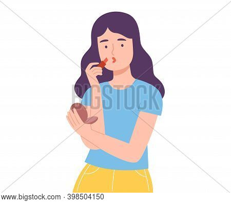 Young Woman Applying Lipstick, Girl Doing Makeup Applying Cosmetic On Her Face Cartoon Style Vector